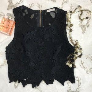 Lush Black Lace Crop Top Sz S (Q17)